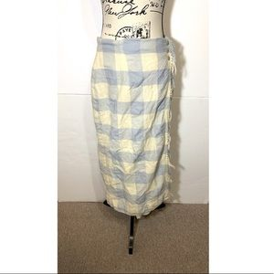 Lauren Ralph Lauren Plaid Tassel Wool Skirt